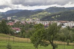 The town of Campulung-Moldovenesc after a day of rain, the sun a royalty free stock images
