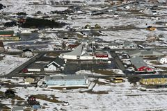 Town in the Canadian Arctic. Aerial view of a town in the Canadian Arctic Royalty Free Stock Photography