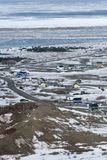 Town in the Canadian Arctic. Aerial view of a town in the Canadian Arctic Royalty Free Stock Image
