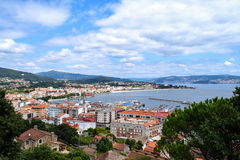 Town of Cangas, Spain. Hilltop view of the town of Cangas in the Bay of Vigo, Galicia, Spain Stock Photos