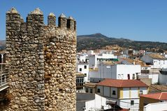 Town and castle, Cabra. Castle battlements and part of town (Castillo de los Condes de Cabra), Cabra, Cordoba Province, Andalusia, Spain, Western Europe Royalty Free Stock Photography