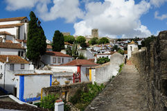 Town within castle walls, Obidos, Portugal Stock Photos