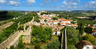 Town within castle walls, Obidos, Portugal Royalty Free Stock Photos