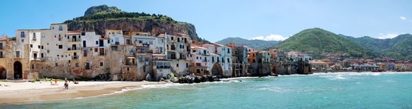The town of Cefalu from the seaside Royalty Free Stock Photos