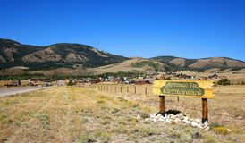The town of Centennial. Welcome to Centennial, sign greets visitors to Centennial, Wyoming a small town and the gateway to the beautiful Snowy Range Mountains stock images