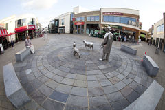 Town center Carmarthen, Wales. Fisheye shot of Carmarthen town center in Carmarthenshire, Wales, UK.  Features The Drover statues sculptures in the Royalty Free Stock Photos