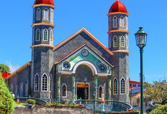 Town Center Church in Small Costa Rican Village. Traveled through small towns in Costa Rica to view their town centers, which were almost always occupied by a royalty free stock photo