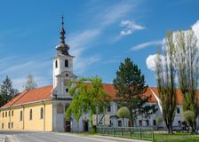Town center and Church of St. John of God in Spisske Podhradie, Slovakia stock images