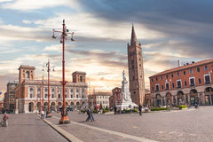 Town center in Forli, Emilia Romagna, Italy. The ancient town center Saffi square, on March 29, 2014 in Forli, city of Emilia Romagna, Italy Stock Image