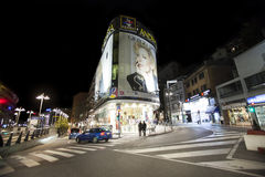 Town center of La Vella in Andorra. Night scene Royalty Free Stock Image
