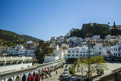 Town center of Moulay Idriss stock photo