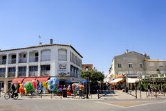 Town center of Saintes-Maries-de-la-Mer Stock Images