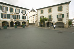 Town center of Sare, France in Basque Country on Spanish-French border, a hilltop 17th century village surrounded by farm fields,  Royalty Free Stock Image