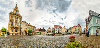 Town center square evening panorama stock photo