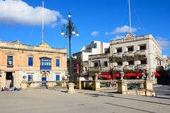 Town centre buildings, Mosta. Traditional Maltese buildings around Rotunda Square by the Mosta Dome in the town centre, Mosta, Malta, Europe Royalty Free Stock Photos