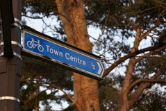 Town centre cycle sign Stock Images