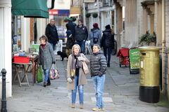 Town Centre Street View. Bradford on Avon, UK - January 21, 2017: Street view of people as they walk through an alleyway in the picturesque old town centre. The Royalty Free Stock Photos