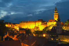 The Town of Cesky Krumlov at night. View of the Cesky Krumlov (Czech Republic, Eastern Europe Royalty Free Stock Photography
