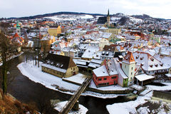 Town of Cesky Krumlov in winter. Time Stock Images