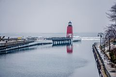 Town of Charlevoix and South Pier Lighthouse on lake michigan royalty free stock image