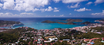Town of Charlotte Amalie and  Harbor Stock Images