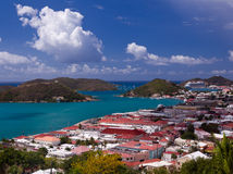 Town of Charlotte Amalie and  Harbor Royalty Free Stock Image