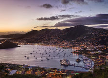 Town of Charlotte Amalie and  Harbor Royalty Free Stock Photography