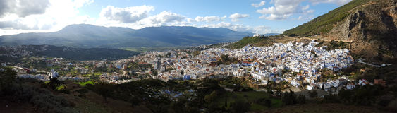 Town Chefchaouen in Morocco. Panorama of blue city Chefchaouen, Morocco, Africa stock images