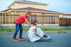 Town Children Playing Outside stock photography