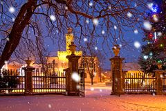 A town in the Christmastime. In the snowfall royalty free stock photos