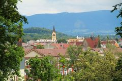 Town of Cieszyn. View on the town with church tower and historic buildings in Cieszyn, Poland stock images