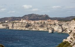 Town of Bonifacio clinging to the cliffs in Corsica Stock Photo