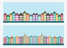 Town cities silhouette icon set Royalty Free Stock Photography
