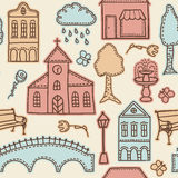 Town or city design elements on seamless pattern Royalty Free Stock Photos
