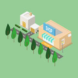 Town city. Isometric town city, shop and other element Royalty Free Stock Images