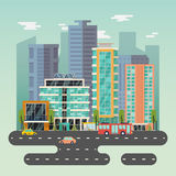 Town or city with skyscrapers buildings and road. Center of city with skyscrapers or buildings with solar battery on roof, road with bus and taxi car. Urban Royalty Free Stock Photos