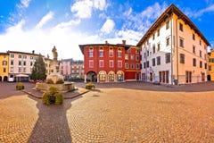 Town of Cividale del Friuli colorful Italian square panoramic vi Stock Images