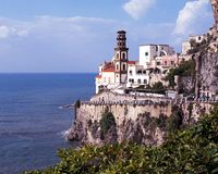 Town on cliffs, Atrani, Italy. Royalty Free Stock Photos