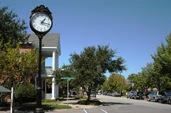 Town Clock. A clock in Manteo, North Carolina celebrates the town's centennial years, 1899 to 1999 royalty free stock photography