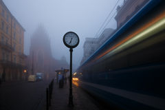The town clock at the tram stop Stock Photo