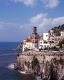 Town on coast, Atrani, Italy. Stock Images