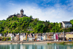 Town of Cochem with the imperial Castle. Panorama of Cochem with the Cochem Imperial Castle on the mountain and Mosel river bellow at spring, Germany stock photo