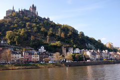 Town Cochem at Moselle River in Germany. Town Cochem at the Moselle River with the  historic Castle Cochem on the Hill, Germany Royalty Free Stock Images
