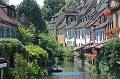 Town of Colmar, France. View of the channel in the centre of Colmar, France Stock Images