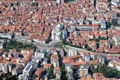 The town of Como, Italy, from above Royalty Free Stock Photography
