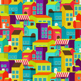 Town concept background pattern seamless. Town concept background. Flat Seamless pattern with colorful houses Royalty Free Stock Photo