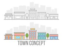 Town concept set. Street with hotel, garage, boutique and cafe. Linear design. Small city in flat style isolated on white backgrou. Nd. Vector illustration royalty free illustration