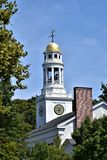 One of many steeples and surrounding landscape in Town of Concord, Middlesex County, Massachusetts, United States. Architecture. One of many old steeples with stock image