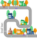 Town constructor. With cars, houses and trees. Church Royalty Free Stock Photos