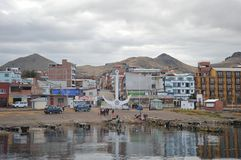 Town of Copacabana  on lake Titicaca. Stock Photo